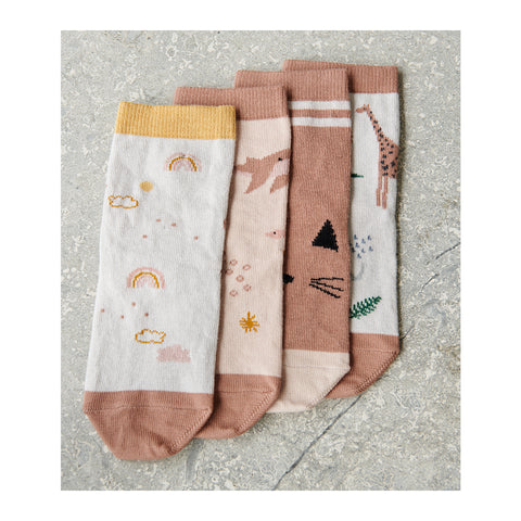 Liewood Silas Cotton Socks 4 Pack - Safari rose mix - Socks & stockings