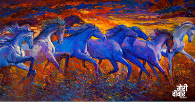 he majestic horses running with a backdrop of the fiery atmosphere is a painting that will fire up your motivations!
