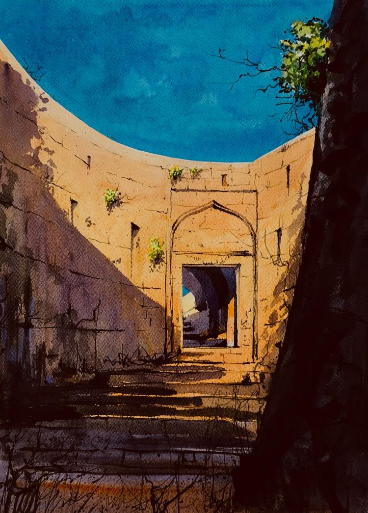 Yellur Fort, Temple , Belgaum Painting by Darshan Chaudhari MeriDeewar
