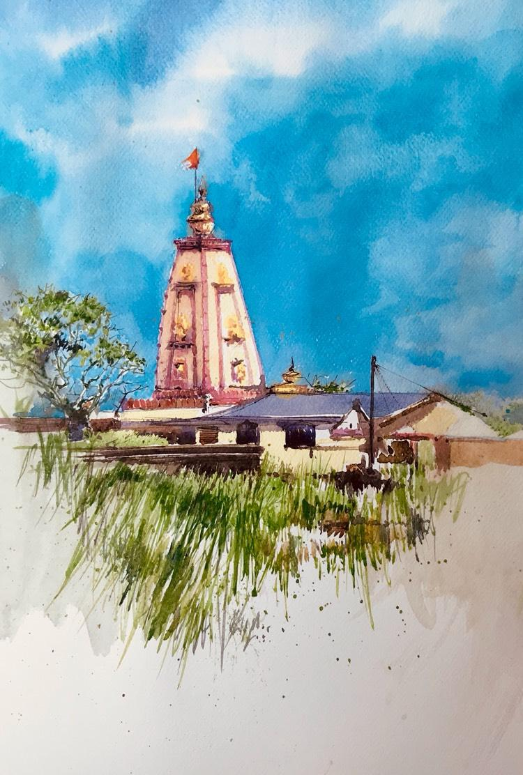 Yellur fort temple belgaum painting merideewar