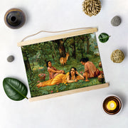 Shakuntala In Garden, Painting By Raja Ravi Varma Hanging Canvas