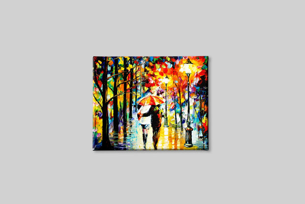 Couple in Rainy Season Canvas Painting - Meri Deewar