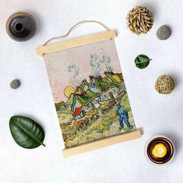 Thatched Cottages In The Sunshine By Van Gogh Hanging Canvas