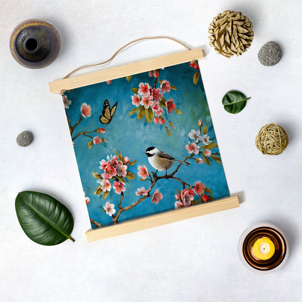 Summer butterfly and Bird Hanging Canvas Painting - Meri Deewar