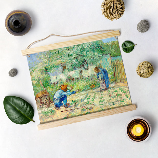 First Steps (After Millet). By Van Gogh Hanging Canvas