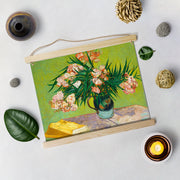 Vase With Oleanders And Books Painting By Van Gogh Hanging Canvas - Meri Deewar