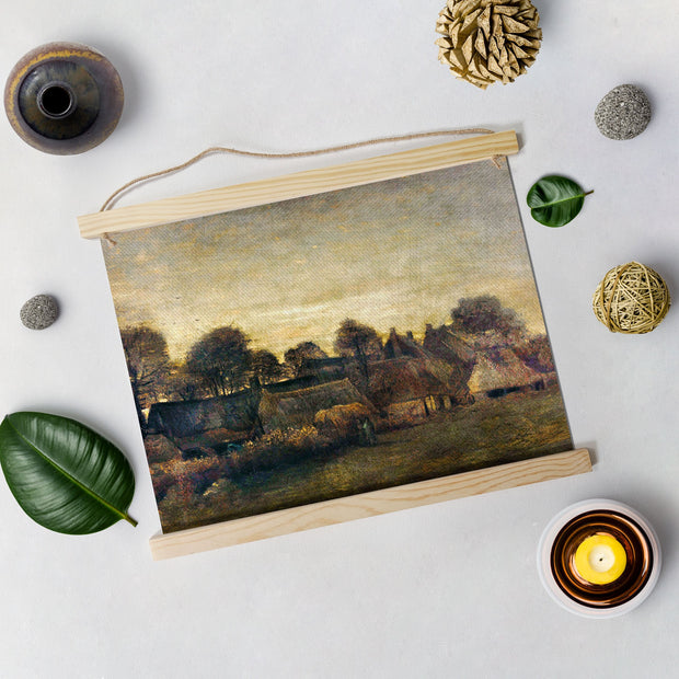 Farming Village At Twilight By Van Gogh Hanging Canvas Painting - Meri Deewar