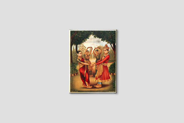 A young girl and boy dance in a garden Canvas Painting-Meri Deewar