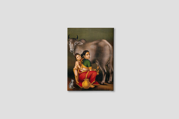 A woman milking a cow with a child Canvas