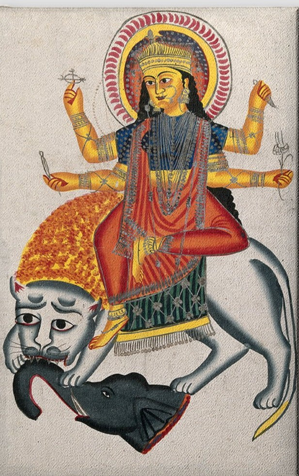 Durga-riding-on-her-lion-killing-a-demon Canvas