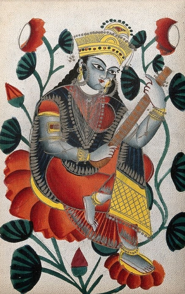 Sarasvati-sitting-on-lotuses-plying-her-vina.-Watercolour-drawing Canvas