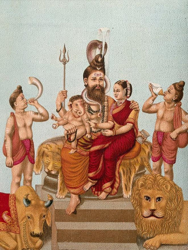 Shiva-Parvati-and-Ganesha,-attended-by-Nandi  Canvas