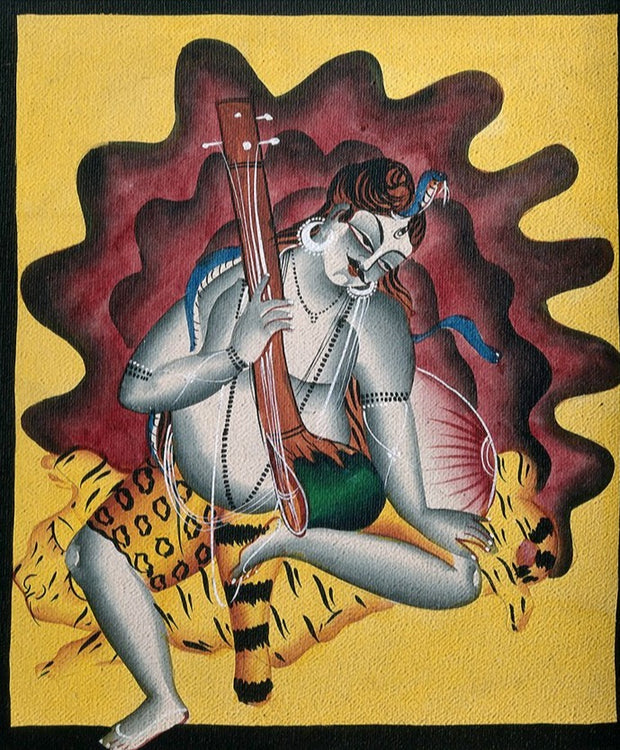 Shiva-sits-on-a-tiger-skin-with-sitar-in-hand Canvas