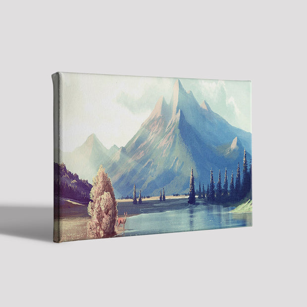 River Side Mountains Painting Canvas