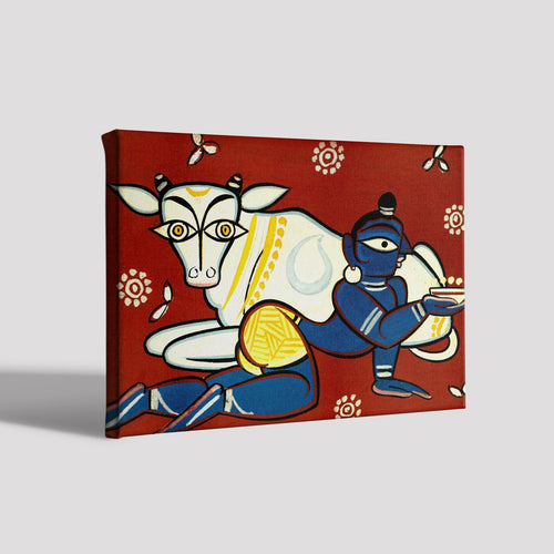 Krisha And Cow Canvas