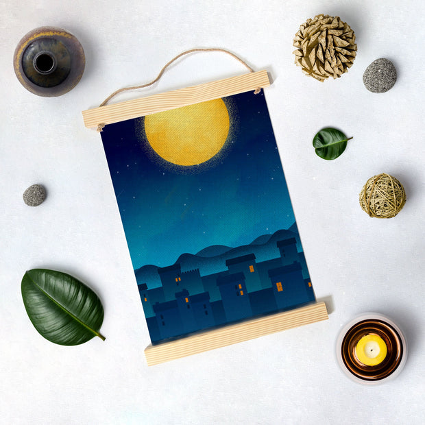 Moon Night Painting Hanging Canvas