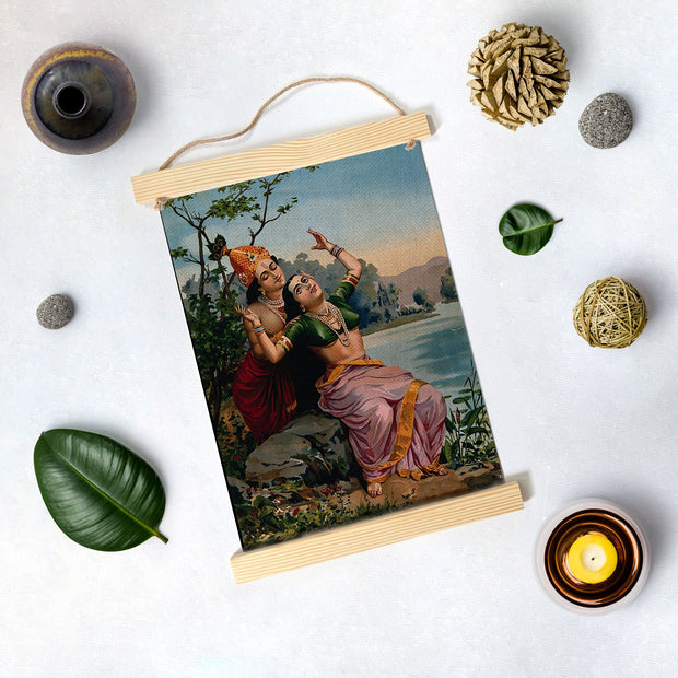 Radha And Madhav Painting By Raja Ravi Varma Hanging Canvas