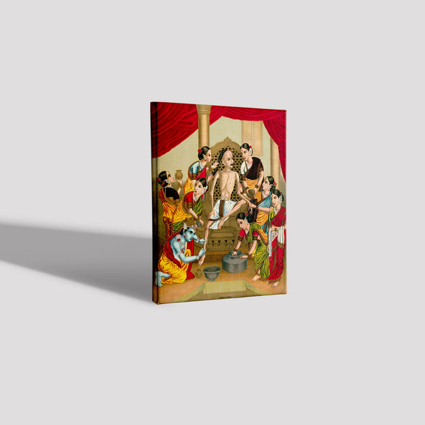A seven women and Krishna Canvas