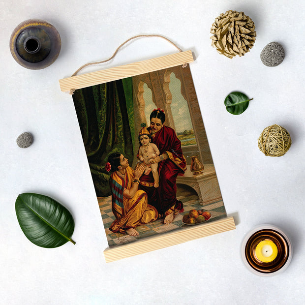 Yasoda With Krishna Painting By Artist Raja Ravi Varma Hanging Canvas - Meri Deewar