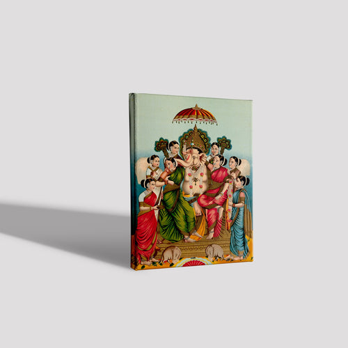 Ganesha and his two wives, Riddhi and Siddhi  Canvas