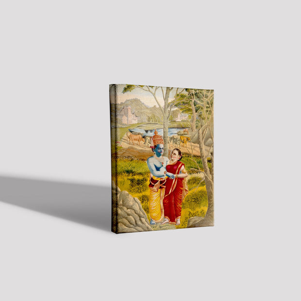 Radha and Krishna embrace in the countryside Canvas