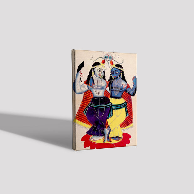 Radha and Krishna on a lotus flower Canvas