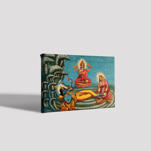 Vishnu-lying-on-a-serpent,-with-Lakshmi Canvas