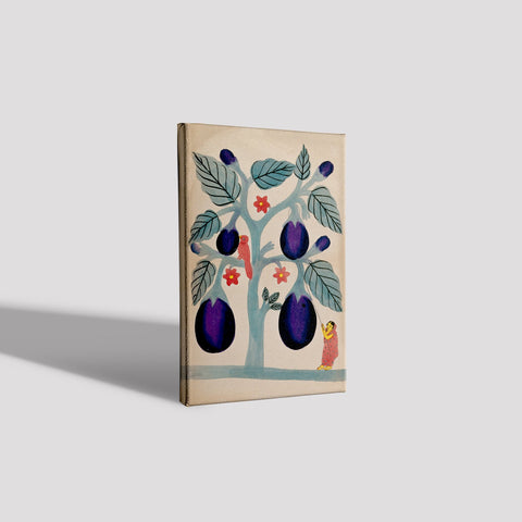 A-woman-pulling-giant-aubergines-from-a-tree Canvas