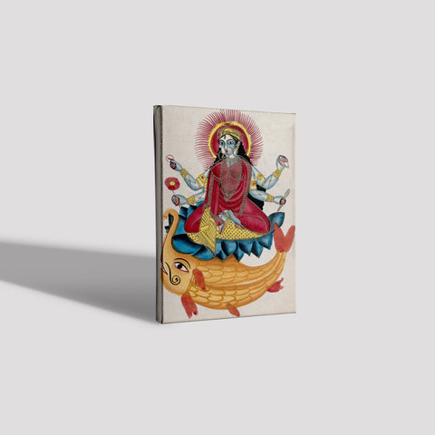Saraswati-sitting-on-a-lotus-with-her-elephant-fish Canvas