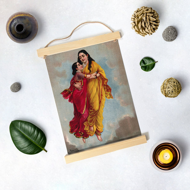 Menaka Takes Shakuntala To Heaven, Painting By Raja Ravi Varma Hanging Canvas - Meri Deewar
