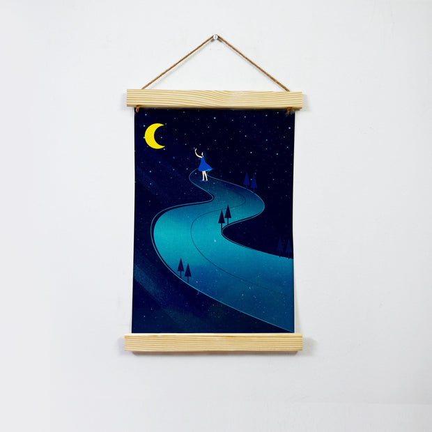 Girl And Moon In Dark Night Hanging Canvas