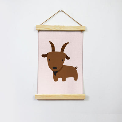 Goat Illustration Hanging Canvas