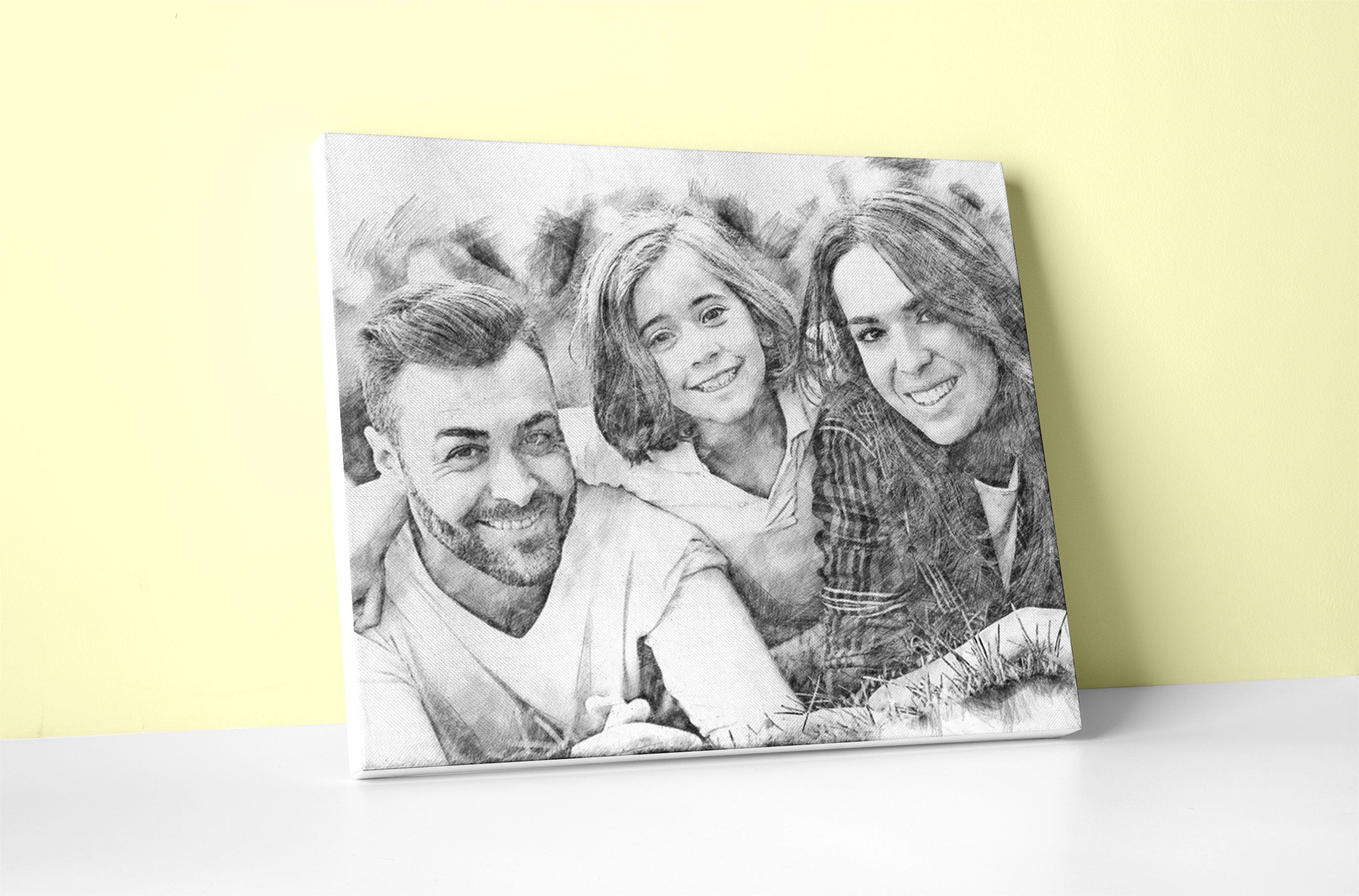 Black and white pencil sketch art portrait with borderless wooden frame