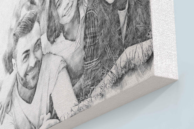 Black and White Pencil Sketch Art Portrait (with borderless wooden frame)