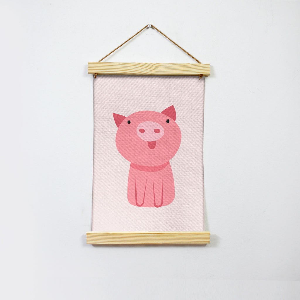 Pink Piggy Illustration Hanging Canvas