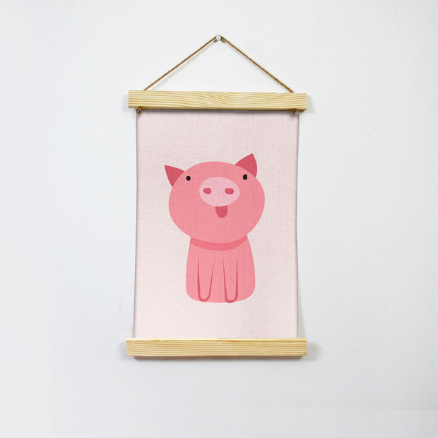 Pink Piggy Illustration Hanging Canvas Painting - Meri Deewar