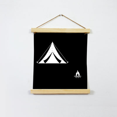 Campfire Travel Black And White Art Hanging Canvas
