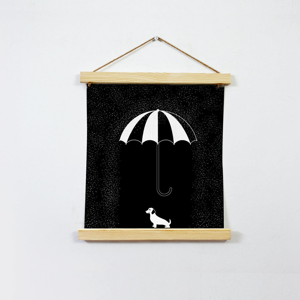 Rain Black And White Hanging Canvas