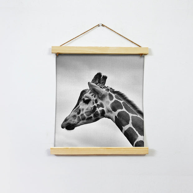 Giraffe Black And White Hanging Canvas