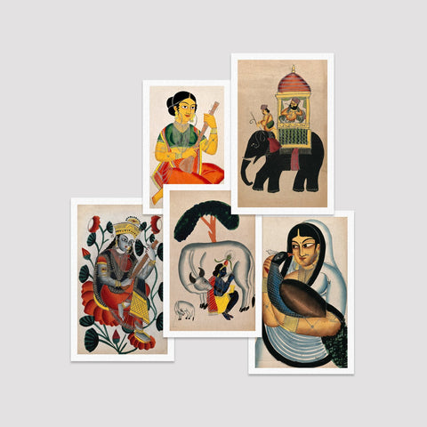 Set of 5 Print by Kalighat Paintings