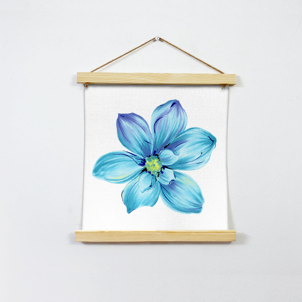 Flower In Deep Blue Wall Art Hanging Canvas