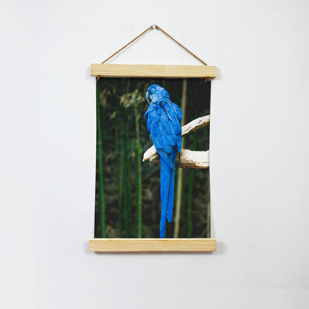 The Blue Parrot Hanging Canvas Painting - Meri Deewar