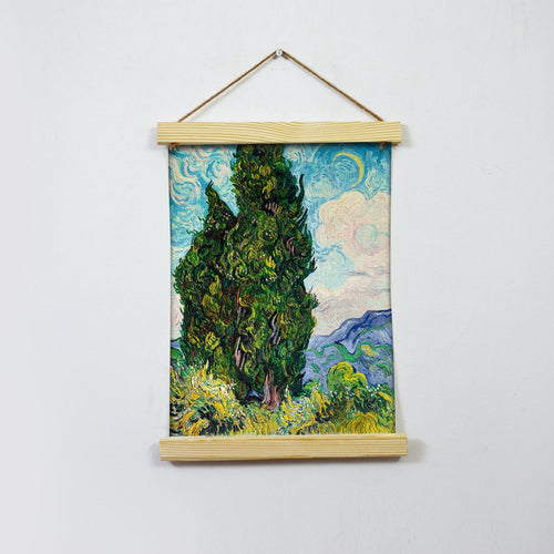 Two Cypresses By Van Gogh  Hanging Canvas