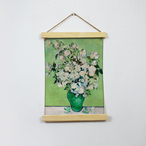 White Roses By Van Gogh  Hanging Canvas