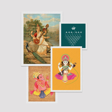 Set of  4 Print by Saraswati