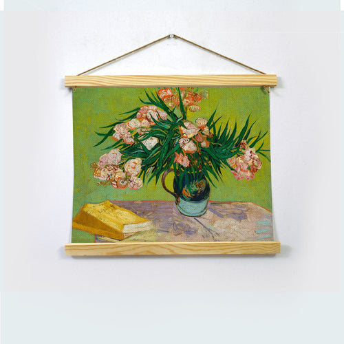 Vase With Oleanders And Books Painting By Van Gogh  Hanging Canvas