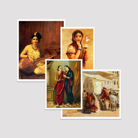 Set of 4 Print by Raja Ravi Varma / EDWIN_LORD_WEEKS