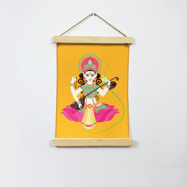 Goddess Saraswati Hanging Canvas Painting - Meri Deewar