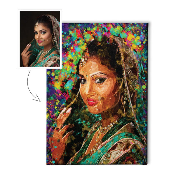 Acrylic Colour Splash Portrait (with borderless wooden frame)