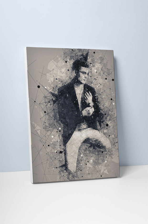 Geometric Sketch Art Portrait (with borderless wooden frame)